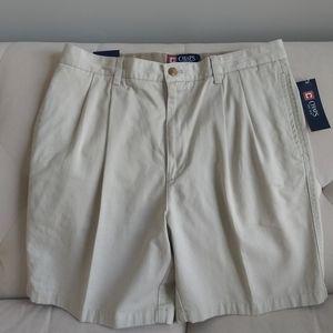CHAPS PLEAT FRONT Shorts Size 34 Tan Men's